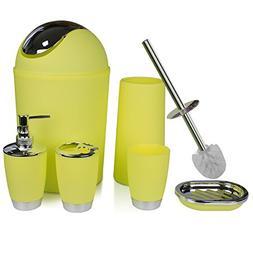 RGUSEN Yellow Bathroom Accessories Sets Complete, 6 Piece Pl
